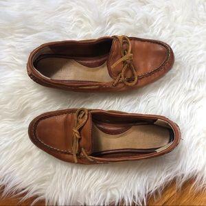 Frye   Cognac Leather Quincy Boat Shoes 8
